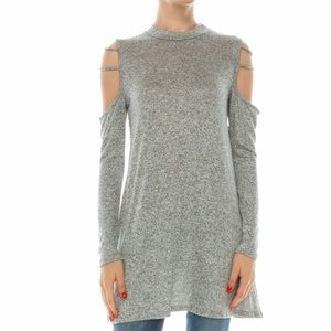 Mock Neck Heather Grey open shoulder tunic dress